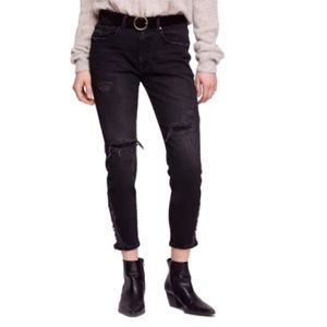FREE PEOPLE About A Girl Crop Skinny NWT 26 Blk